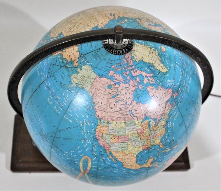 Vintage George F. Cram Co. Figural Brass Atlas Illuminated Terrestrial Globe For Sale 3