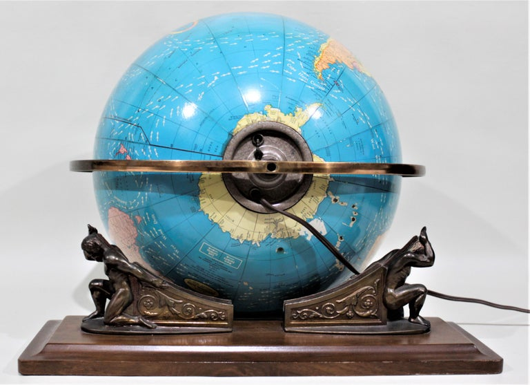 Vintage George F. Cram Co. Figural Brass Atlas Illuminated Terrestrial Globe For Sale 4