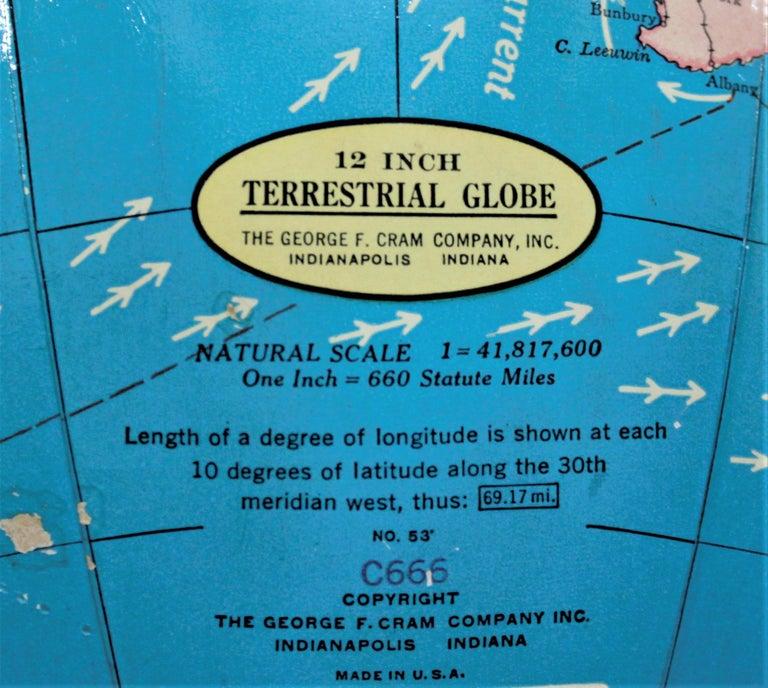Vintage George F. Cram Co. Figural Brass Atlas Illuminated Terrestrial Globe For Sale 5