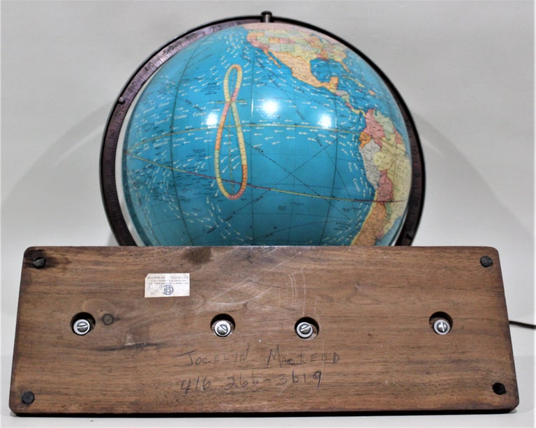 Vintage George F. Cram Co. Figural Brass Atlas Illuminated Terrestrial Globe For Sale 6