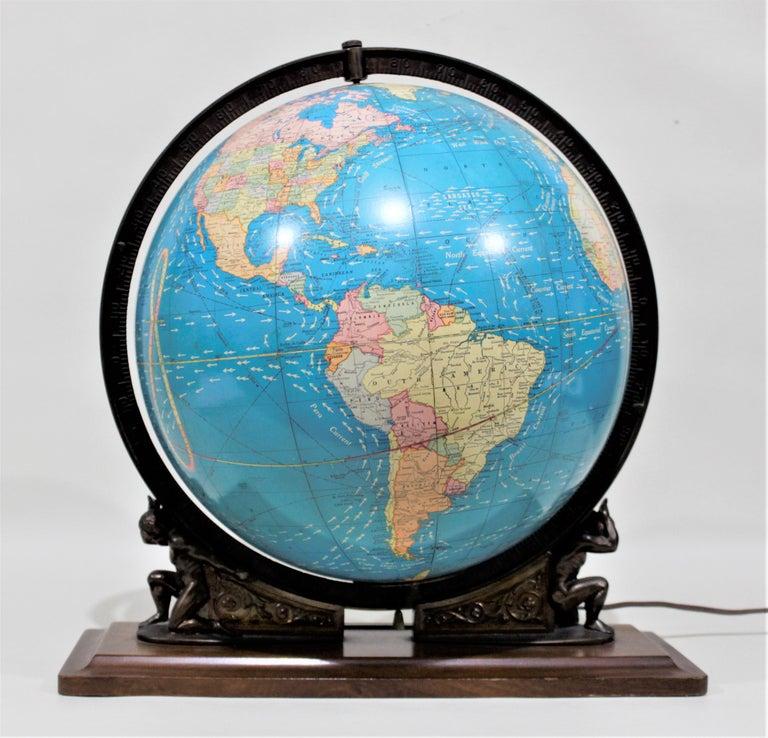 Vintage George F. Cram Co. Figural Brass Atlas Illuminated Terrestrial Globe For Sale 8