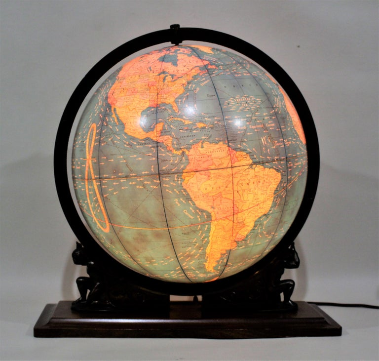 Art Deco Vintage George F. Cram Co. Figural Brass Atlas Illuminated Terrestrial Globe For Sale