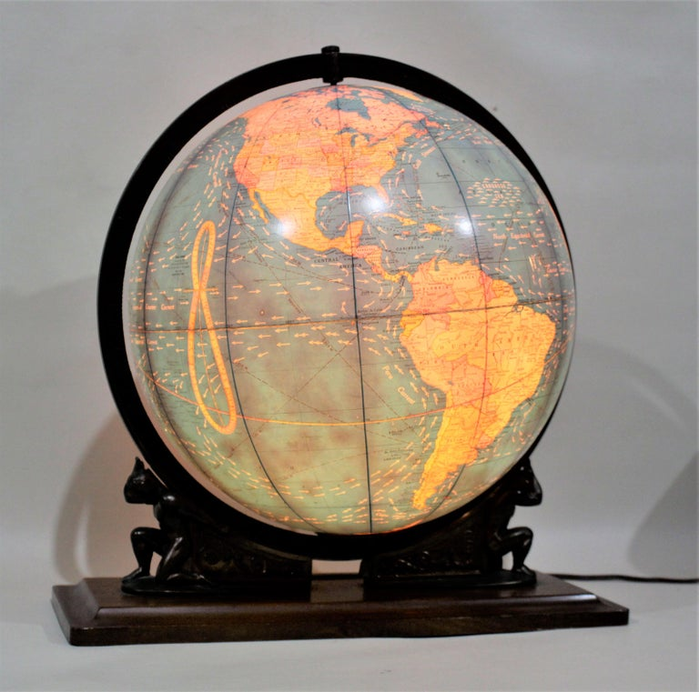 American Vintage George F. Cram Co. Figural Brass Atlas Illuminated Terrestrial Globe For Sale