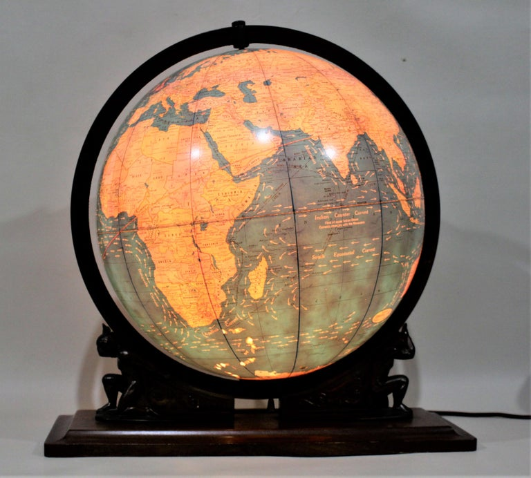 Machine-Made Vintage George F. Cram Co. Figural Brass Atlas Illuminated Terrestrial Globe For Sale