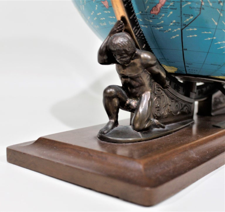 Vintage George F. Cram Co. Figural Brass Atlas Illuminated Terrestrial Globe In Good Condition For Sale In Hamilton, Ontario
