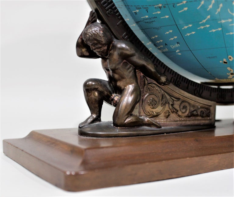 20th Century Vintage George F. Cram Co. Figural Brass Atlas Illuminated Terrestrial Globe For Sale