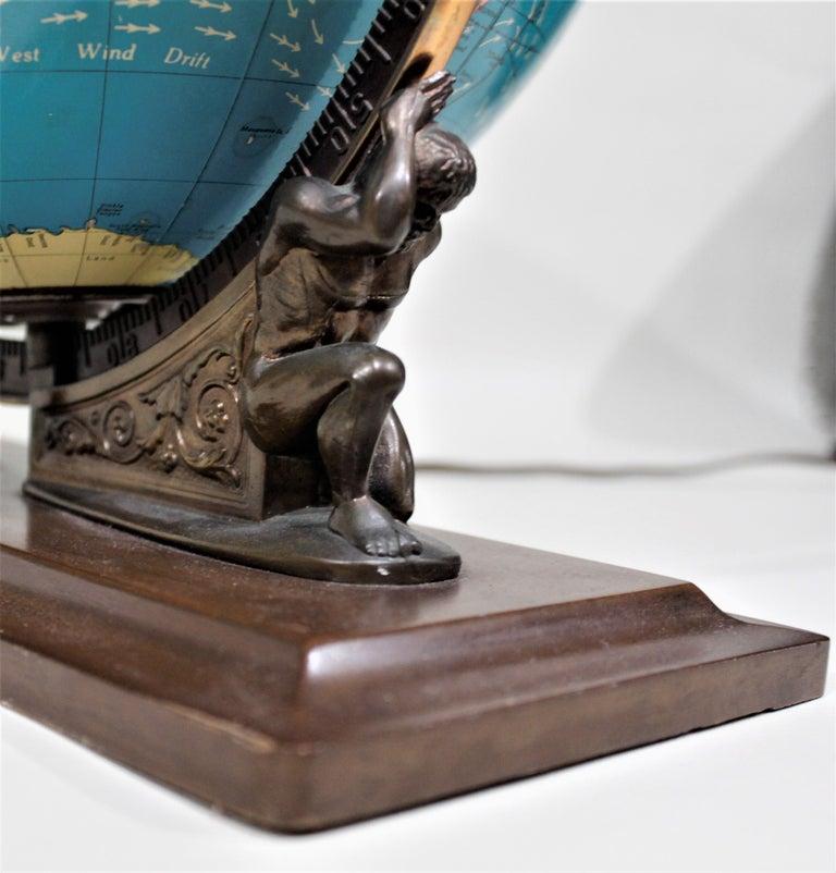 Vintage George F. Cram Co. Figural Brass Atlas Illuminated Terrestrial Globe For Sale 1