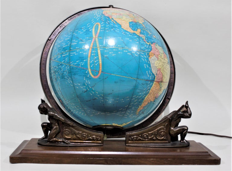 Vintage George F. Cram Co. Figural Brass Atlas Illuminated Terrestrial Globe For Sale 2