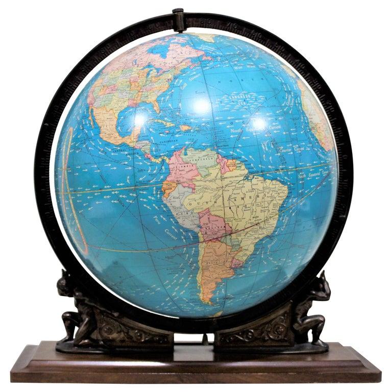 Vintage George F. Cram Co. Figural Brass Atlas Illuminated Terrestrial Globe For Sale