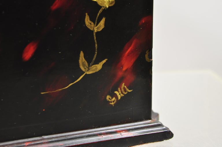 Vintage George III Style Lacquered Wood Hand Painted Butterfly Flower Knife Box For Sale 4