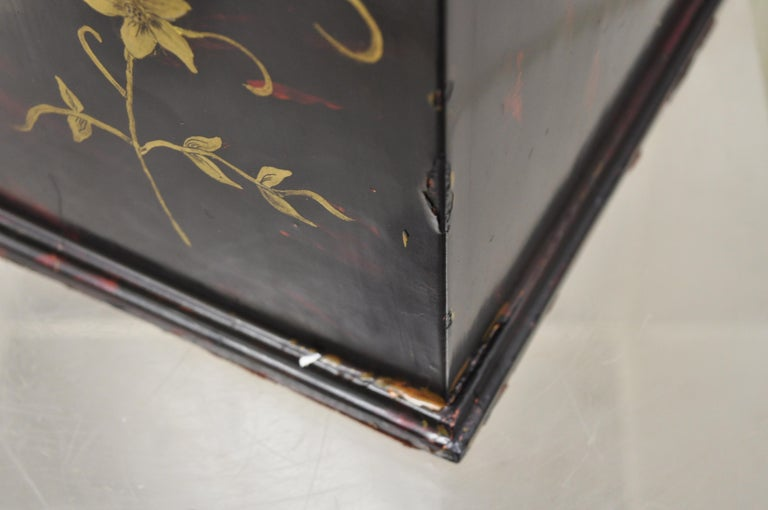 Vintage George III Style Lacquered Wood Hand Painted Butterfly Flower Knife Box For Sale 5