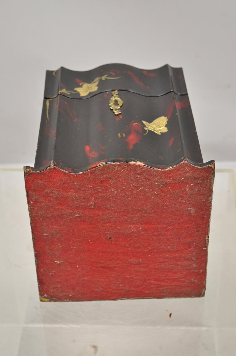 Vintage George III Style Lacquered Wood Hand Painted Butterfly Flower Knife Box For Sale 6