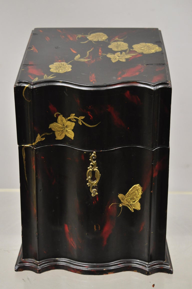 Vintage George III style lacquered wood hand painted butterfly flower knife box. Item features red lacquer painted finish, gold painted flowers, solid wood construction, very nice antique item, circa early 1900s. Measurements: 12.5