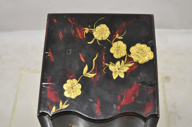 Georgian Vintage George III Style Lacquered Wood Hand Painted Butterfly Flower Knife Box For Sale