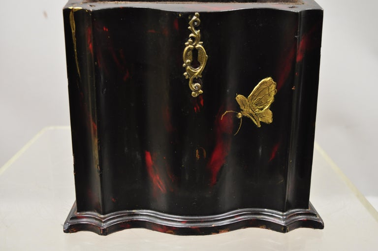 English Vintage George III Style Lacquered Wood Hand Painted Butterfly Flower Knife Box For Sale