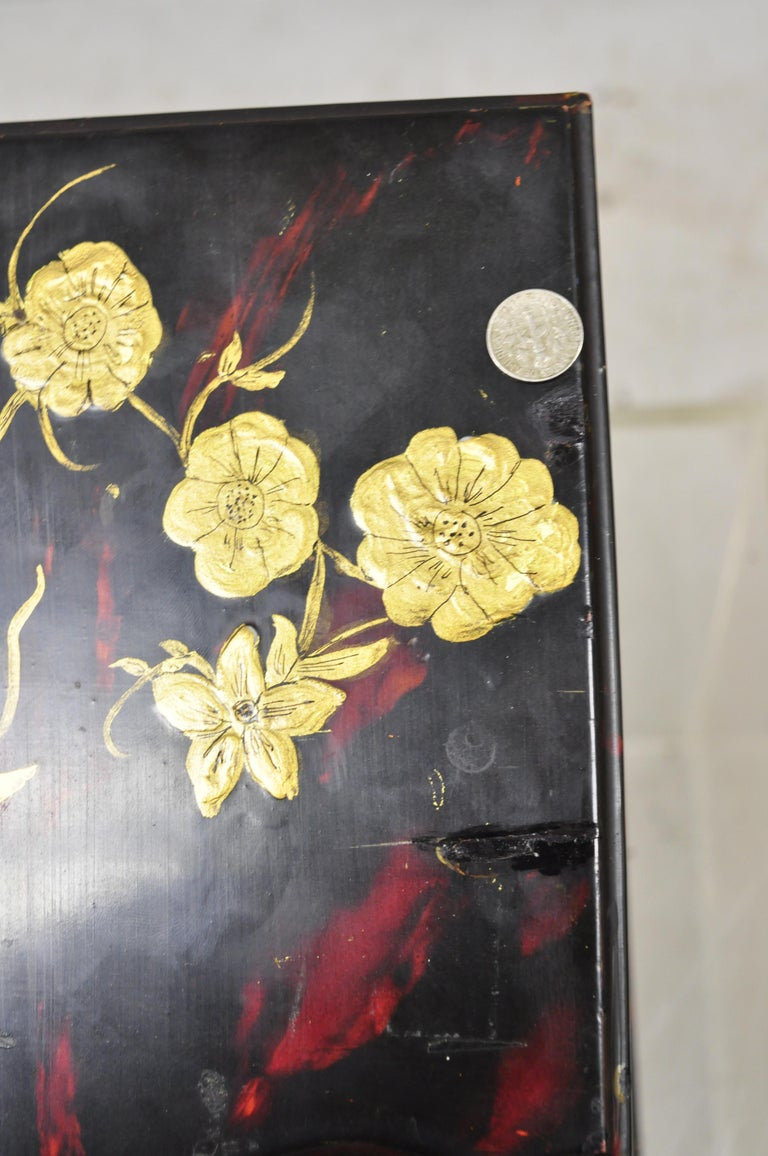 Vintage George III Style Lacquered Wood Hand Painted Butterfly Flower Knife Box For Sale 1