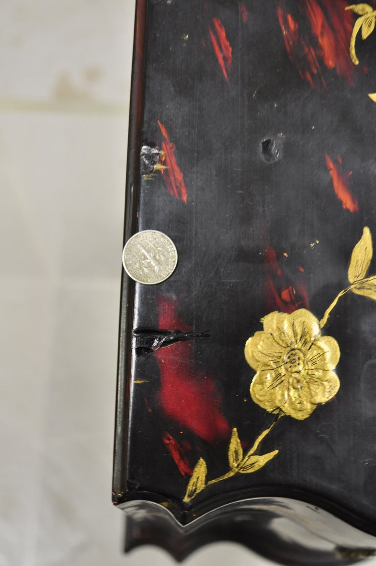 Vintage George III Style Lacquered Wood Hand Painted Butterfly Flower Knife Box For Sale 2