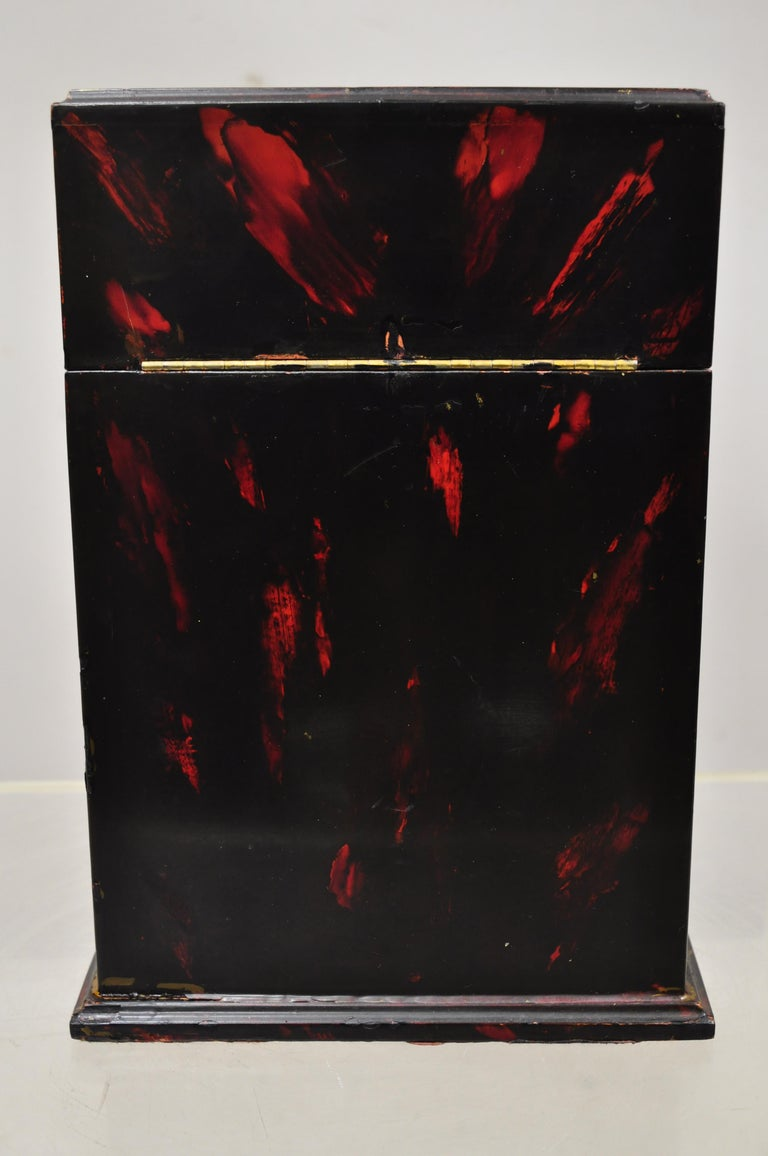 Vintage George III Style Lacquered Wood Hand Painted Butterfly Flower Knife Box For Sale 3