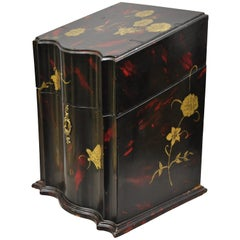 Vintage George III Style Lacquered Wood Hand Painted Butterfly Flower Knife Box