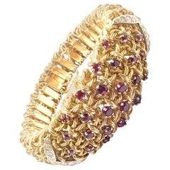 Vintage George L'Enfant Diamond Ruby Wide Flexible Bangle Bracelet