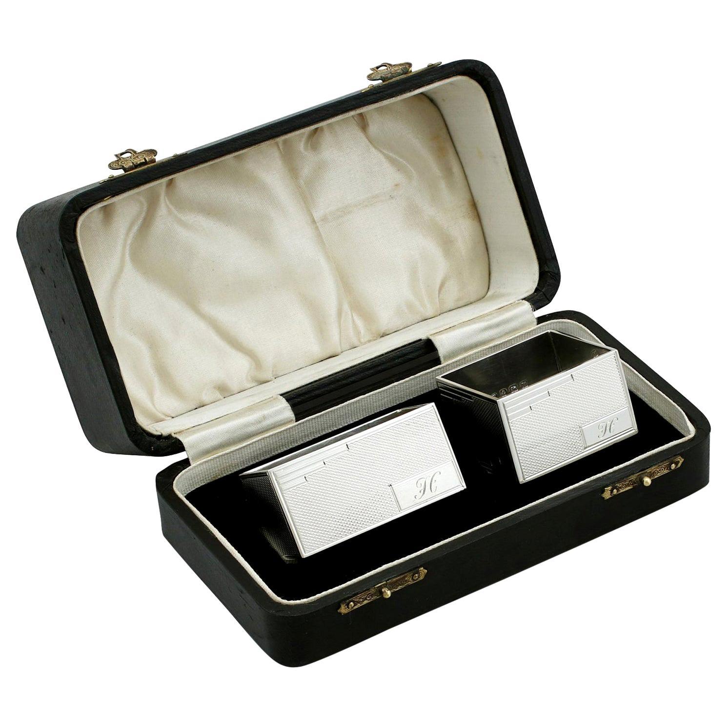 Vintage George VI Art Deco Style Sterling Silver Napkin Rings