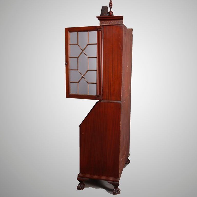 George Winthrop Carved Mahogany Drop Front Secretary & Bookcase, circa 1950 For Sale 5