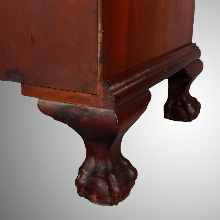 George Winthrop Carved Mahogany Drop Front Secretary & Bookcase, circa 1950 For Sale 8