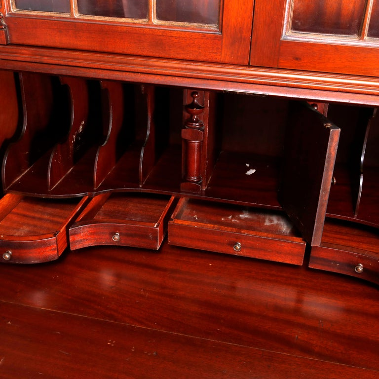George Winthrop Carved Mahogany Drop Front Secretary & Bookcase, circa 1950 For Sale 10