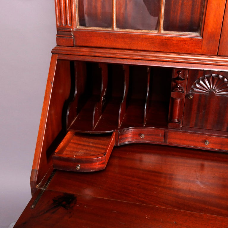 George Winthrop Carved Mahogany Drop Front Secretary & Bookcase, circa 1950 For Sale 11