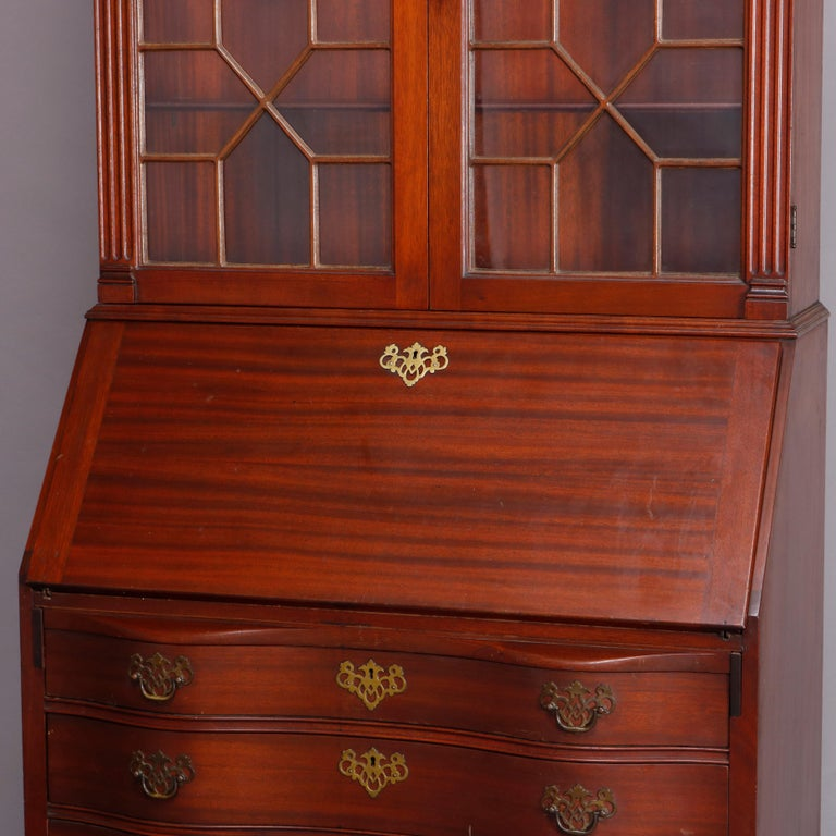 American George Winthrop Carved Mahogany Drop Front Secretary & Bookcase, circa 1950 For Sale