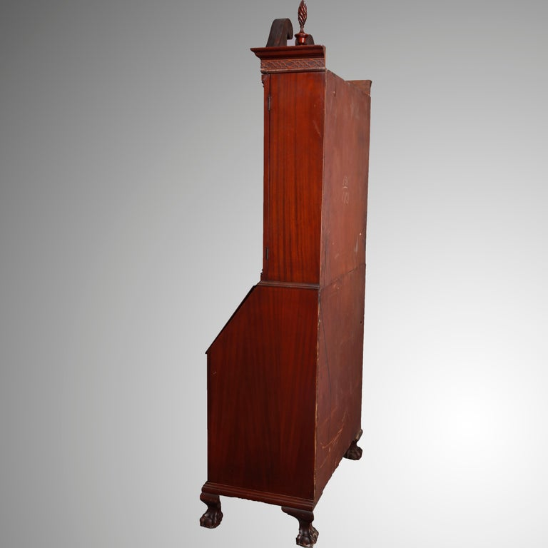George Winthrop Carved Mahogany Drop Front Secretary & Bookcase, circa 1950 For Sale 1