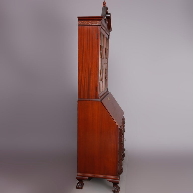 George Winthrop Carved Mahogany Drop Front Secretary & Bookcase, circa 1950 For Sale 2