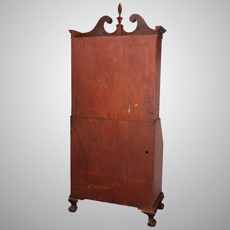 George Winthrop Carved Mahogany Drop Front Secretary & Bookcase, circa 1950 For Sale 3