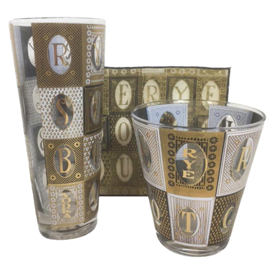 Vintage Georges Briard Barware Suite in the Scotch Pattern - Glasses & Napkins