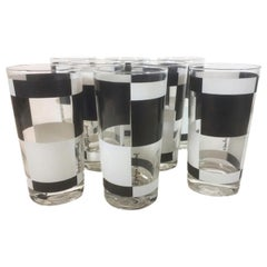 Vintage Georges Briard, Black and White Squares, 8 Highball