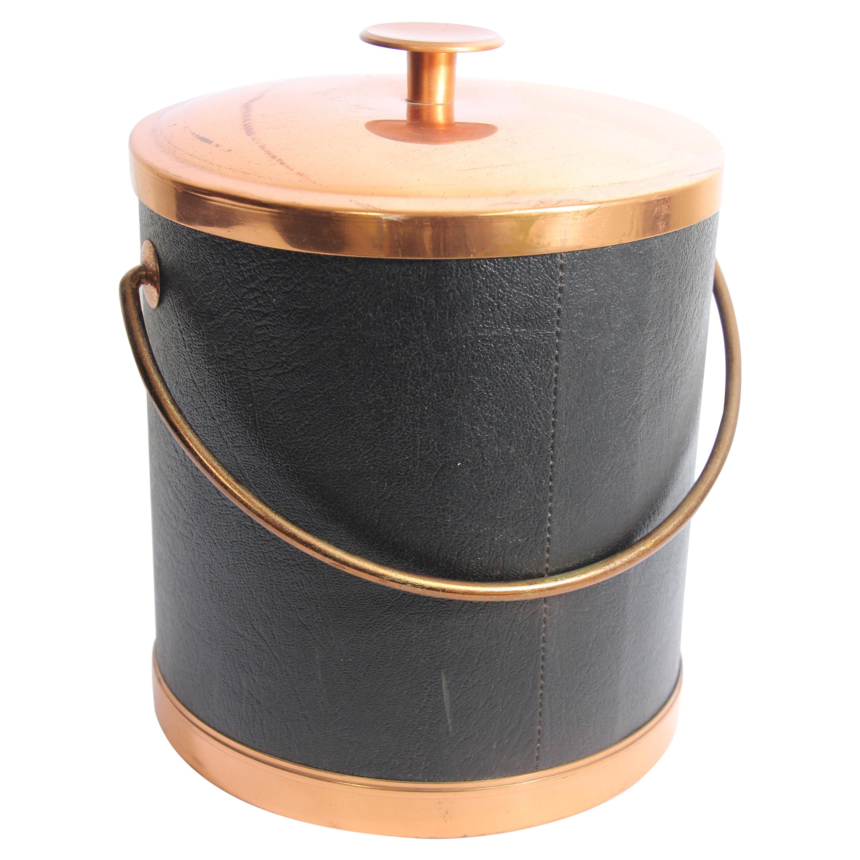 Vintage Georges Briard Black Ice Bucket with Copper Cover