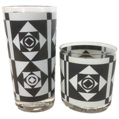 Vintage Georges Briard, Black & White Geometric Bar Glasses, 8 Highball, 6 Rocks