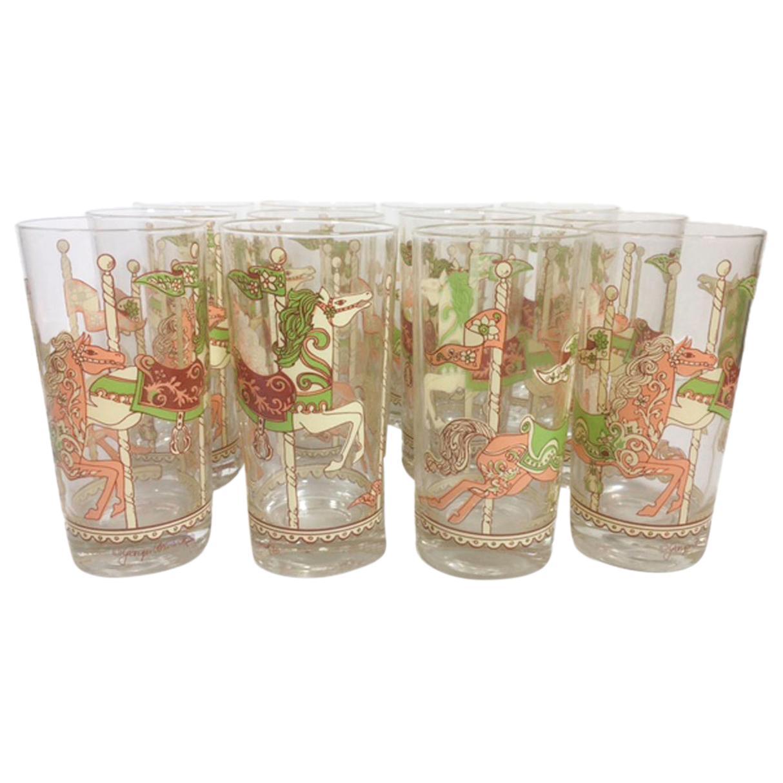 Vintage Georges Briard - Carousel Horse Highball Glasses - Set of Twelve