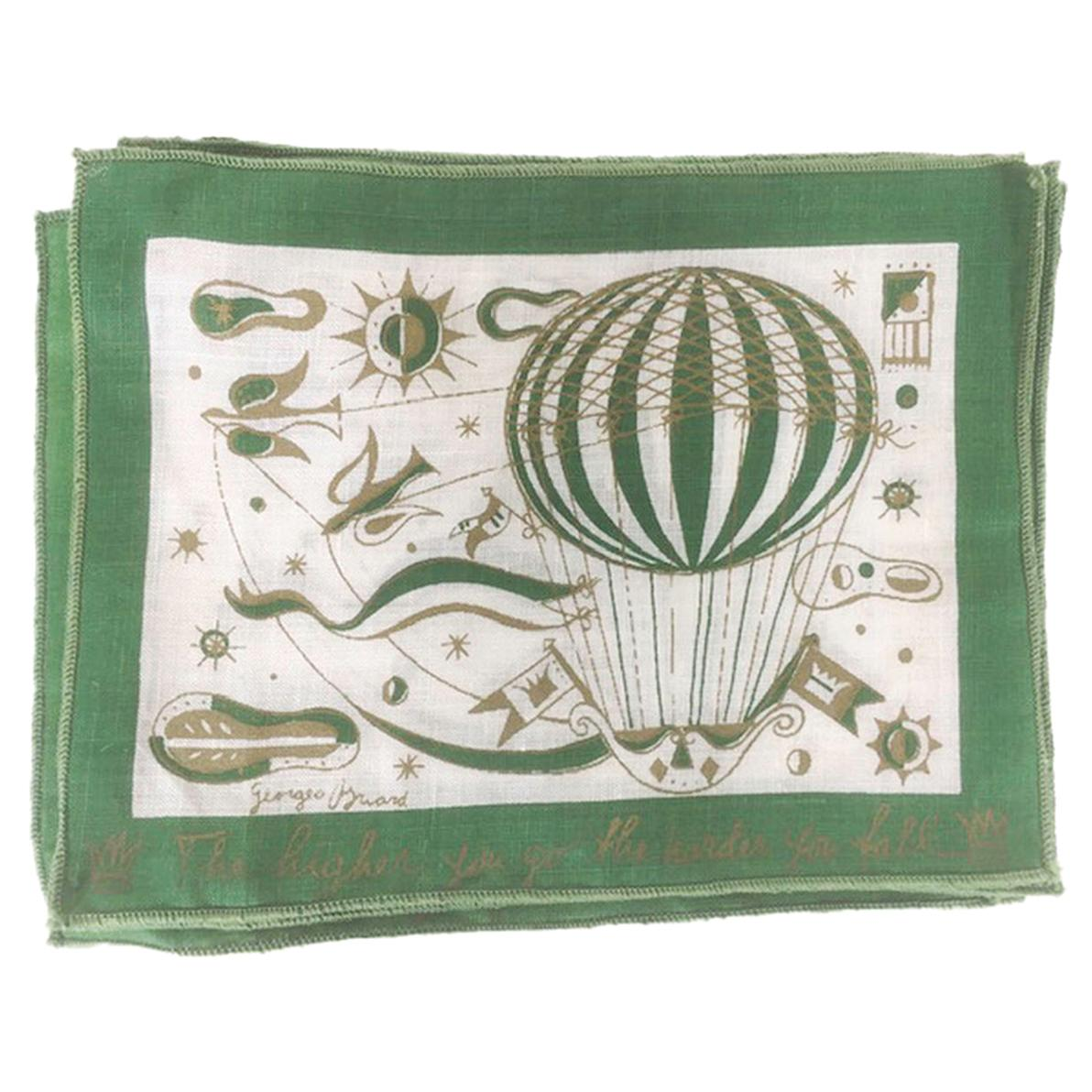 """Vintage Georges Briard Cocktail Napkins """"The Higher You Go, The Harder You Fall"""""""