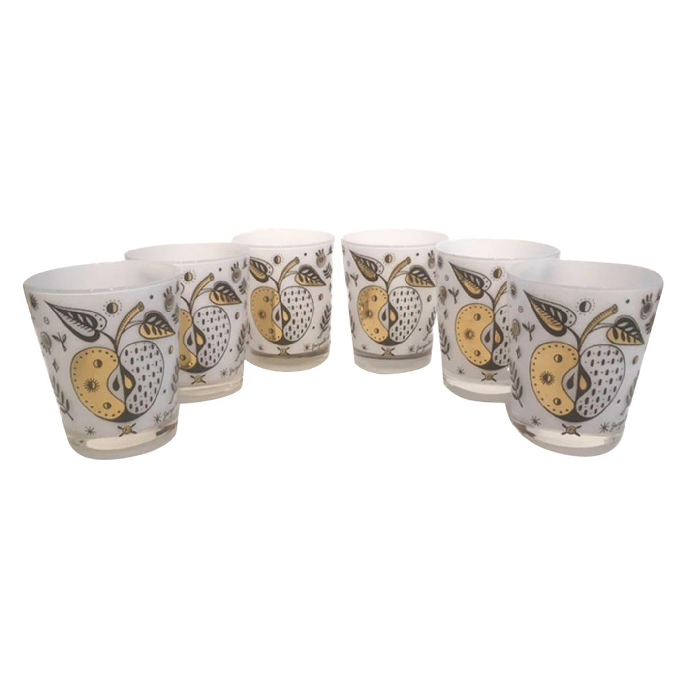Vintage Georges Briard Forbidden Fruit Double Old Fashioned Glasses