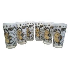 Vintage Georges Briard Forbidden Fruit Highball Glasses with White Interiors