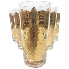Vintage Georges Briard Highball Glasses with 22k Gold Pineapple and Pear Design