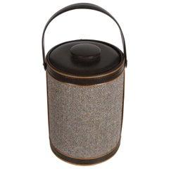 """Vintage Georges Briard Large Thermal Lidded """"Tweed"""" and Vinyl Ice Bucket"""
