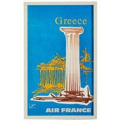 """Vintage Georges Mathieu """"Air France"""" Exhibition Poster in Frame, Greece, 1968"""