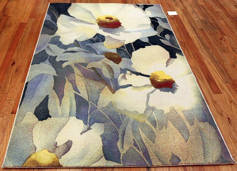 Vintage Georgia O'keeffe Art Rug from Scandinavia, Date circa Mid-20th Century For Sale 4