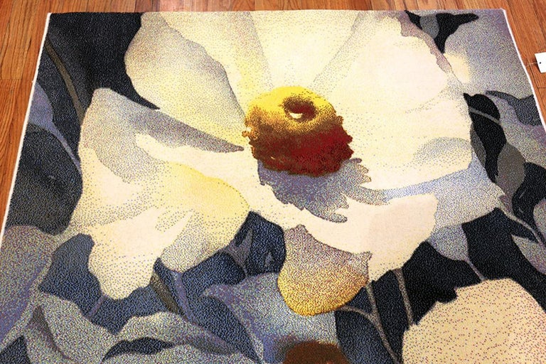 Vintage Georgia O'keeffe Art Rug from Scandinavia, Date circa Mid-20th Century For Sale 5