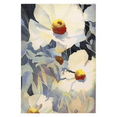 Vintage Georgia O'keeffe Art Rug from Scandinavia. Size: 5 ft 2 in x 7 ft 7 in