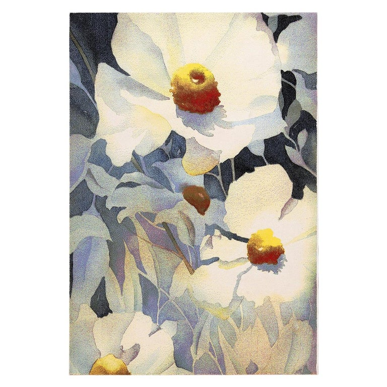 Vintage Georgia O'keeffe Art Rug from Scandinavia, Date circa Mid-20th Century For Sale