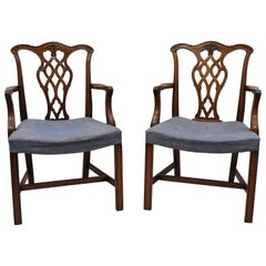 Vintage Georgian Chippendale Carved Mahogany Dining Captains Armchairs, Pair A