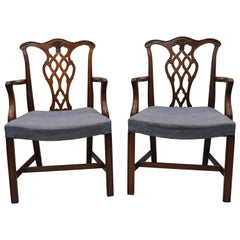 Vintage Georgian Chippendale Carved Mahogany Dining Captains Armchairs, Pair B